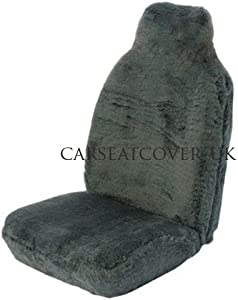 PAIR HIGH QUALITY GREY FURRY SEAT COVERS FITS MOST CARS