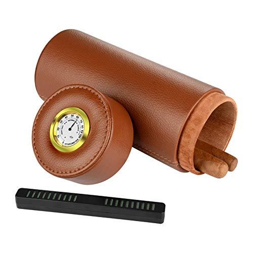 Humidor, portasigari da viaggio per sigari, igrometro e umidificatore integrato, può contenere più sigari (marrone)