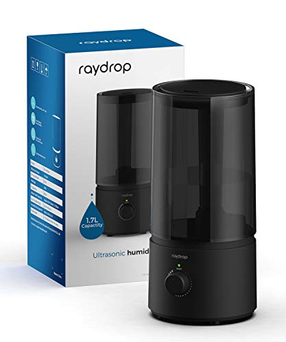 Humidifiers for Bedroom, raydrop Cool Mist Humidifiers for Babies, 1.7L Quiet Ultrasonic Humidifier, Space-Saving, Filterless, Auto Shut Off-(1.7L/0.45 Gallon, US 110V)
