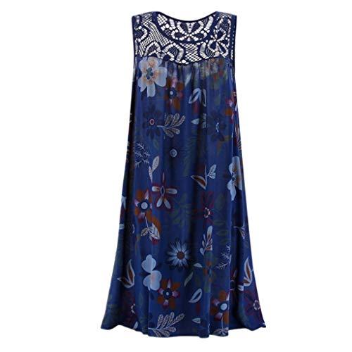 Lulupi Damen Boho Ärmellos Geblümtes Kleid Kurz Spitzenkleid Mini Sommer Strandkleid Hemd T-Shirt-Kleid Große Größen
