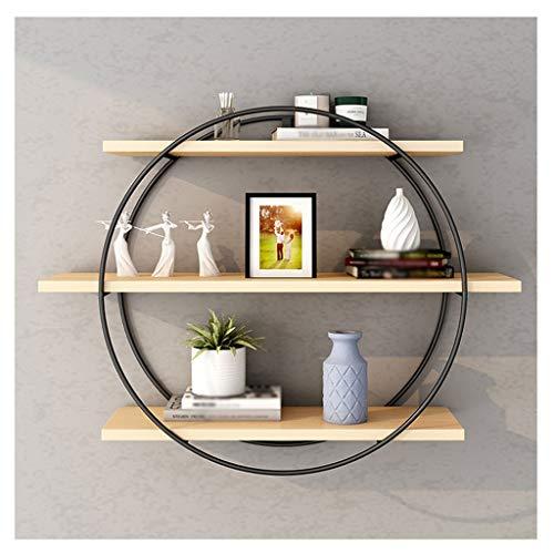 YIXIN2013SHOP Home Librería flotante de 3 capas, estante de almacenamiento de pared de hierro forjado de metal, estante redondo para dormitorio o sala de estar (negro) (tamaño: pequeño)