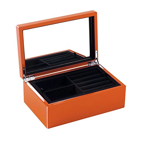 Gift Company Schmuckkasten XS - mit Schmuckfächern und Spiegel – Hochglanz - 22x14x8,3cm - Dark Orange orange