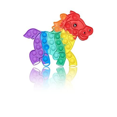 PIANETA Pop it Push it Fidget Toy, pop Bubble, endspannentes Anti Stress Spielzeug Sensorisches Spielzeug Autismus lindert Angstzustände. Für Kinder und Erwachsene (Pferd Regenbogen)