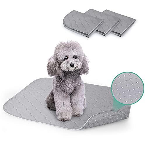 Nobleza - Empapadores para Perros Pequeños, Almohadillas de Entrenamiento Lavables para Mascotas, Reutilizable Absorbente Cojín Antideslizante Pet Pee Pad Paquete de 3 (60 * 45cm), Gris
