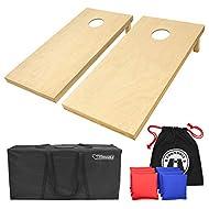 GoSports Solid Wood Premium Cornhole Set - Choose Between 4feet x 2feet or 3feet x 2feet Game Boards, Includes Set of 8 Corn Hole Toss Bags