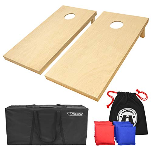 GoSports Solid Wood Premium Cornhole Set - Choose Between 4'x2' or 3'x2' Game Boards - Includes Set of 8 Corn Hole Toss Bags