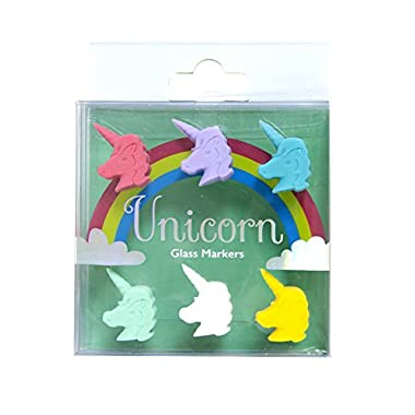 Wine Glass Markers with Colorful and Stylish Design - Set of 6 (Unicorn)