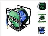 Prebena Druckluft Schlauchtrommel 30m, Robustes Metallgestell um 360° drehbar, einklappbare Kurbel