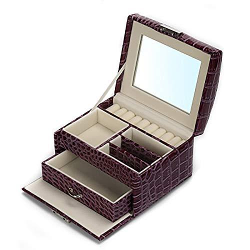 Caja de joyería portátil de doble capa con un solo cajón de almacenamiento con espejo de maquillaje de alta definición y hebilla oculta de metal, color morado