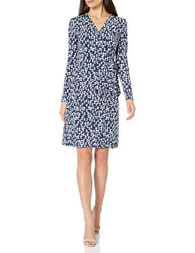 Lark & Ro Women's Signature Long Sleeve Wrap Dress, Navy White Mini...