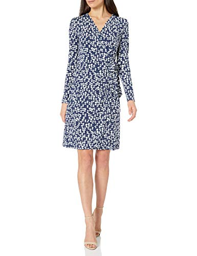 Lark & Ro Women's Signature Long Sleeve Wrap Dress, Navy White Mini...