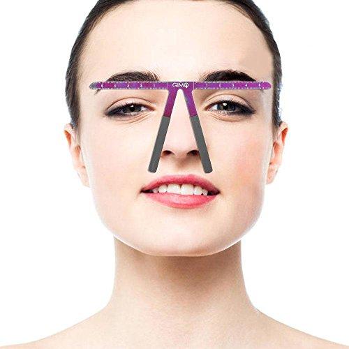Règle de sourcil, poils de calibre réutilisables d'équilibre de sourcil d'équilibre, formant la règle façonnant la mesure l'outil de positionnement symétrique(Violet)