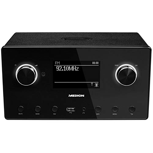 MEDION P85080 WLAN Internet-Radio (DAB+, UKW, Bluetooth, USB, Spotify, AirPlay, Multiroom, AUX) schwarz