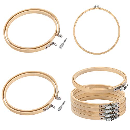 Embroidery Hoop Wood,8 Pieces 7.9 Inch Round Bamboo Circle Cross Stitch Hoop Ring,Adjustable Embroidery Hoop Bulk Wholesales for Art Craft Handy Sewing