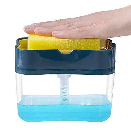 Dispensador de jabón para cocina Esponjas de Limpieza Caradispensador de jabón líquido con soporte de esponja Esponjas de Limpieza Multiusos para Baños y Cocinas