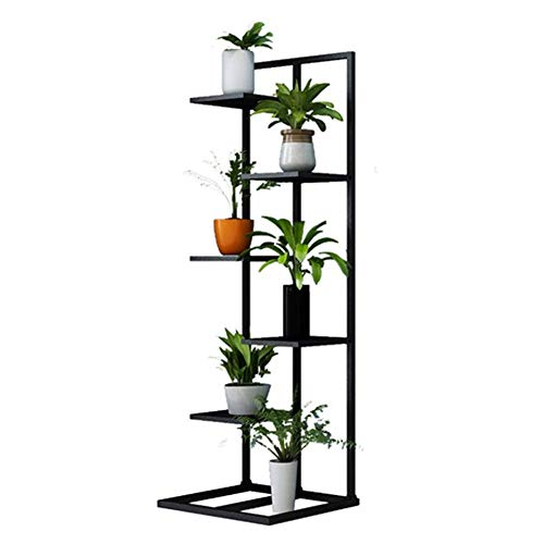 Qfly Bloempotstandaard, metaal, binnen, balkon, veellaags, voor planten, tuin, buiten, zwart