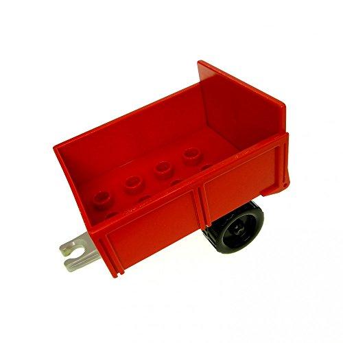 Bausteine gebraucht 1 x Lego Duplo Anhänger rot hell grau Fahrgestell Kipp Aufsatz Ladefläche Klappe Traktor Auto Bauernhof 4820 4821ac01 4822