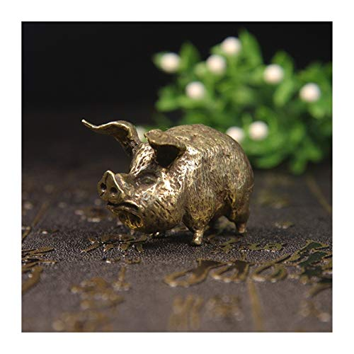 Hong Yi Fei-Shop Desktop decorations Retro Copper Chinese 12 Zodiac Flying Pig Statue Home Decoration Antique Brass Lucky Animal Figurine Small Table Desk Ornaments Decorations