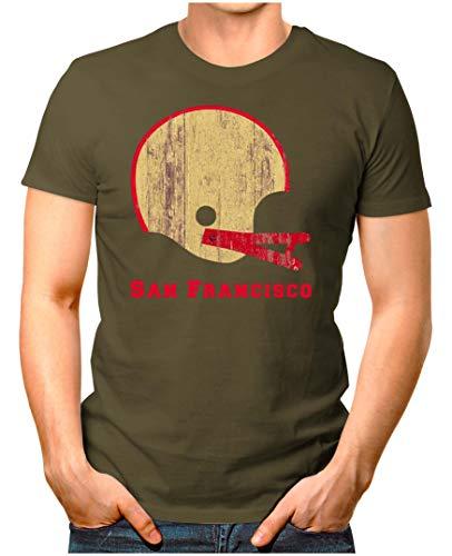 OM3® - San-Francisco-Helm - T-Shirt   Herren   American Football Shirt   4XL, Oliv