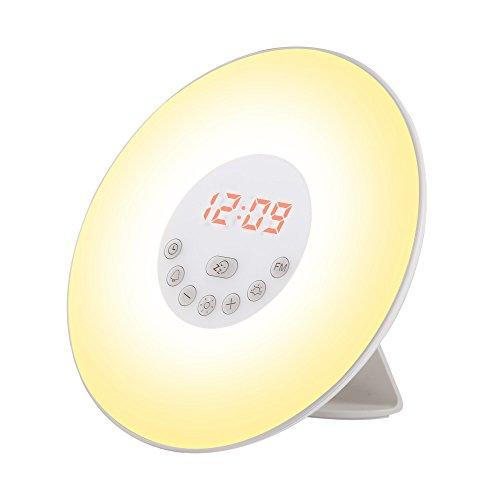 Generic 6638D Wake Up LED Licht/Funk/Reisewecker Nachtlicht 10 einstellbare Helligkeit und 7 Farben Auswählen zur einen schönen Morgen ideal für Kinder, Plastik, Weiß, 18 x 18 x 10.5 cm