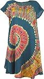GURU SHOP Batik Tunika, Midikleid, Strandkleid, Kurzarm Sommerkleid für Starke Frauen, Damen, Petrol, Synthetisch, Size:42, Lange & Midi-Kleider Alternative Bekleidung
