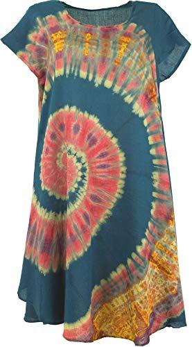 Guru-Shop, Tie Dye Tuniek, Midi-jurk, Strandjurk, Zomerjurk met Korte Mouwen Voor Sterke Vrouwen, Zwart, Synthetisch, Size:16, Korte Jurken