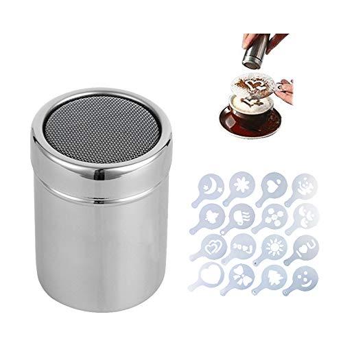 Plumero de acero inoxidable 304 para coctelera de chocolate, azúcar, cacao, café, latte, capuchino, malla con 16 plantillas de café