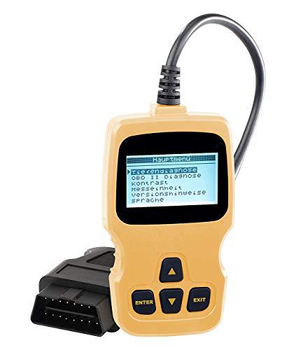 Lescars Auto Diagnose: OBD2-Diagnosegerät mit XL-LCD-Display, für MIT ECHTZEIT-INFOS, Liest und löscht Codes, Diagnose für 130 Komponenten (Diagnosegerät Auto)