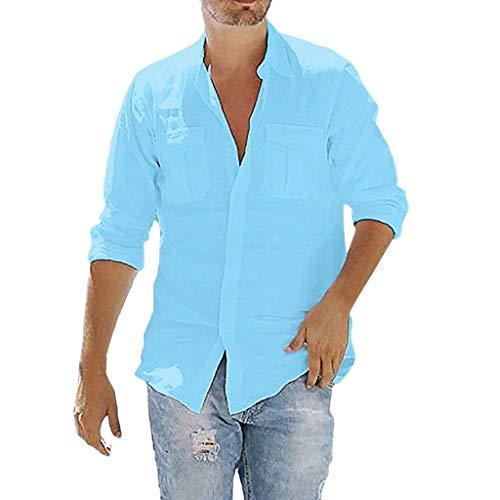 routinfly Herren Lässige T-Shirt,Männer Fun Shirt Sweatshirt Baggy Pocket Solide Langarm Retro T-Shirts Tops Bluse Einfarbiges Taschenshirt mit Langen Ärmeln M-3XL