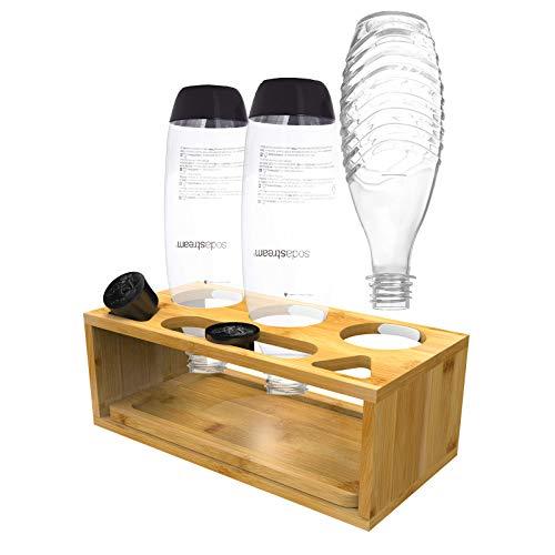 Okaytec Sodastream Flaschenhalter Bambus - Bambushalter für 3 Sodastream Halter Flaschen - Abtropfhalter Zubehör für Soda Stream Crystal & Emil Flaschen (mit Bambus Abtropfschale & Flaschenbürste)