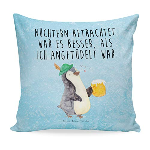 Mr. & Mrs. Panda Kissenhülle, Kissenbezug, 40x40 Kissen Pinguin Bier mit Spruch - Farbe Eisblau