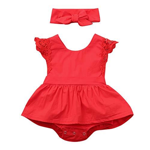 K-youth® Vestido de Mono de Encaje para niña Falda Corta + Correa...