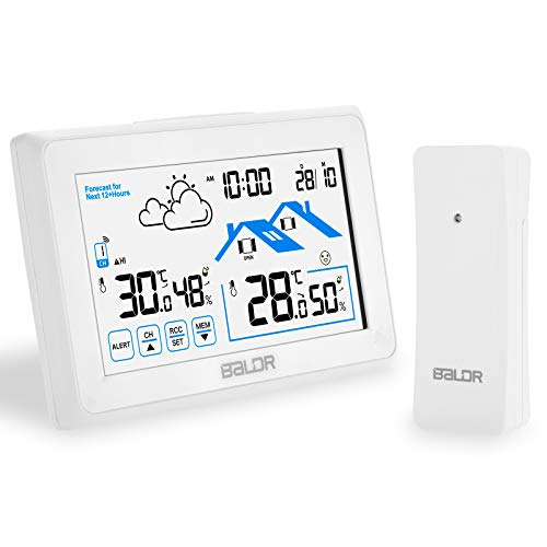 FOCHEA Wetterstation Funk mit Außensensor, Multifunktion Funkwetterstation Digital Thermometer Hygrometer mit Feuchte- und Temperaturüberwachung für Innen und Außen Auto Haus Büro (Weiß)