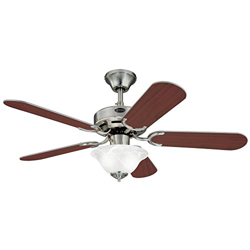 Westinghouse Lighting 7877365 Richboro SE Two-Light 42-Inch Reversible Five-Blade Indoor Ceiling Fan, Brushed Nickel with Frosted White Alabaster Glass Bowl