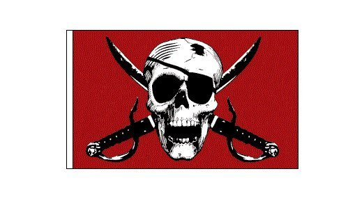 6 ft. Red Pirate Skull Bicycle Safety Flag with Rear Axle Mounting Bracket