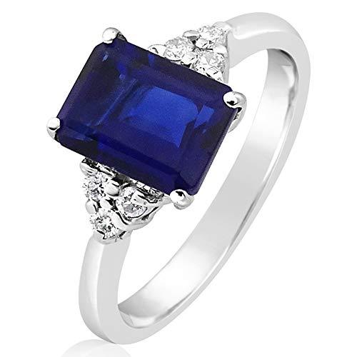 Mille Amori - Anello da donna in oro bianco 9 kt 375/1000, con diamanti 0,09 carati, zaffiro blu sintetico 1,60 carati, 8 x 6 cm, collezione Gems e Oro bianco 375/1000, 9, cod. 2387