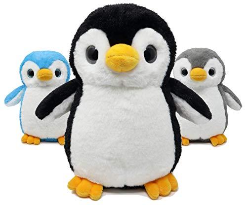 Fluffuns Penguin Plush - Cute Plush Baby Penguin Stuffed Animal Doll - Stuffed Penguin Plush - 9 Inch Height (Blue Black Gray)