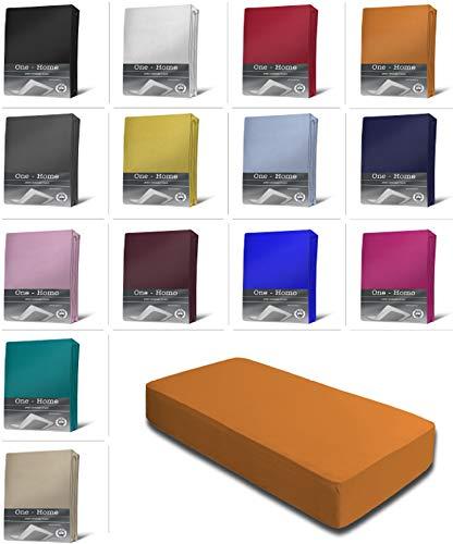 one-home Jersey Spannbettlaken Spannbetttuch Bettlaken weich 100% Baumwolle Rundumgummi, Maße:90-100 x 200 cm, Farbe:Terracotta/Orange