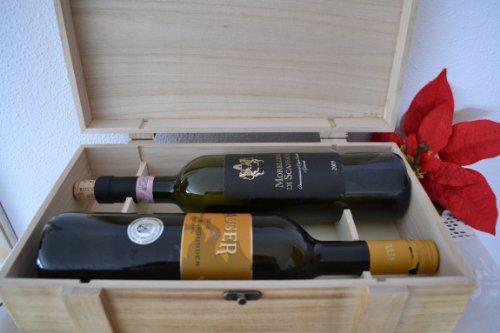 Weinkiste-Geschenkverpackung für 2 Flaschen Wein- Weinkiste aus Echtholz mit Verschluß