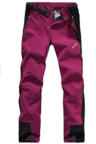 Micosuza Damen Fleece Wanderhose Winddicht Wasserdicht Softshell Outdoorhose,Rosa, EU L = Tag XXL
