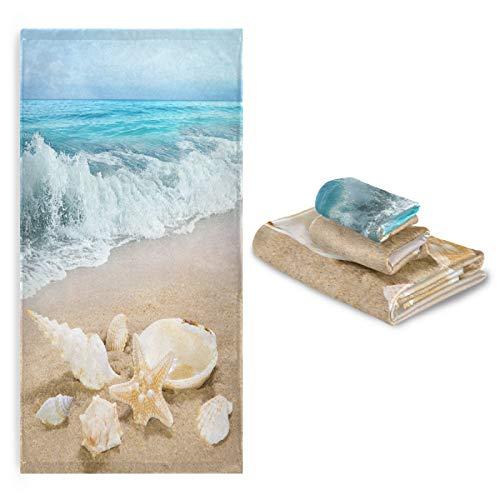 Beach Ocean Starfish Towels Set of 3 Seashell Sea Summer Hand Towel Blue Sky Bath Towel Washcloth Soft Thin Face Guest Towel Kitchen Tea Dish Towels Bathroom Decorations Housewarming Gifts