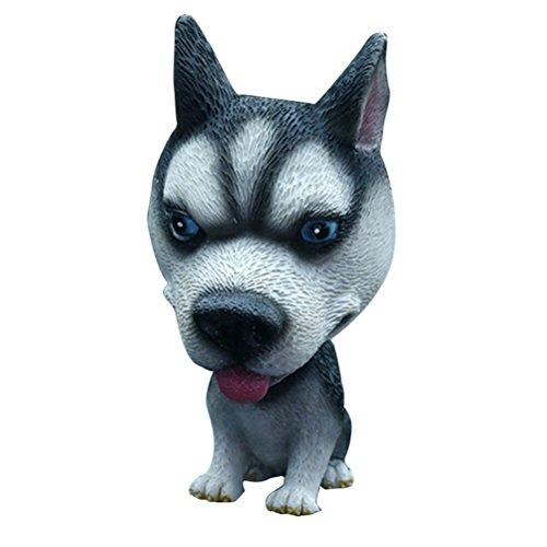VOSAREA Figura de perro Husky que mueve la cabeza para decoración y juguete