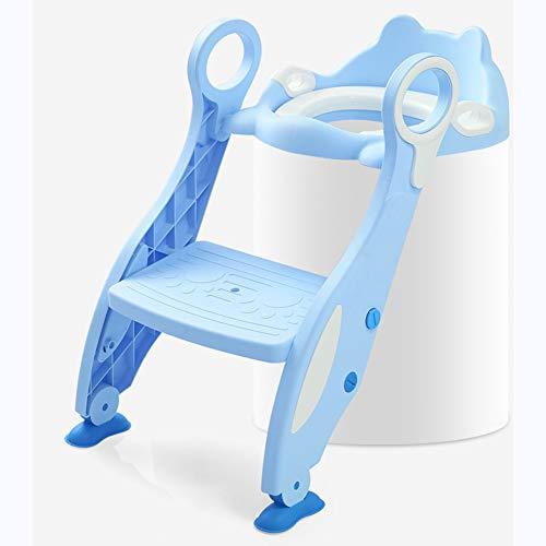 DONG Inodoro con Orinal Ajustable para Niños con Taburete, Adecuado para Niños Y Niñas,Azul