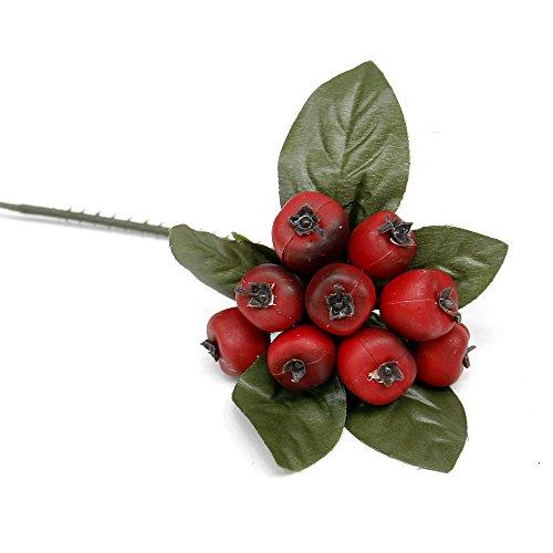 12 x Beeren Pick ca. 6cm, Diverse Farben, künstlich, Früchte/TOP (rot/matt)