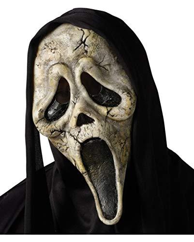 Scream Zombie Maske mit schwarzer Kapuze
