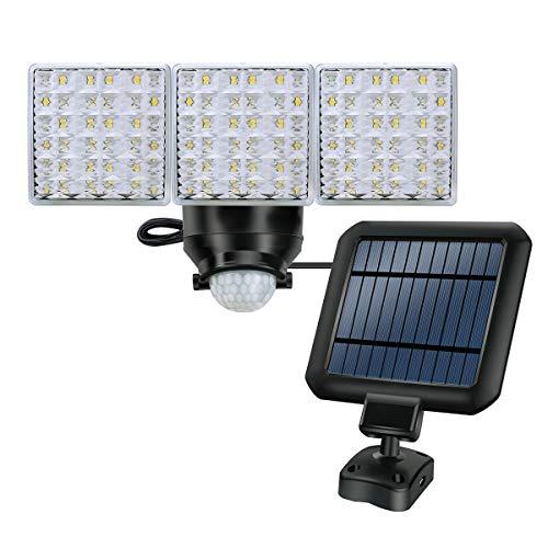 Lámpara exterior de seguridad con energía solar, lámpara de sensor de movimiento súper brillante de 1800LM, 3 cabezas de luz ajustables con 66 focos LED para jardín, patio, garaje, etc.