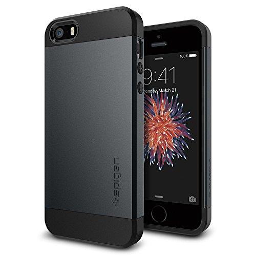 Spigen Cover iPhone 5S, Cover iPhone SE 2016 Slim Armor Progettato per iPhone 5S / 5 / SE 2016 Cover Custodia - Metal Slate