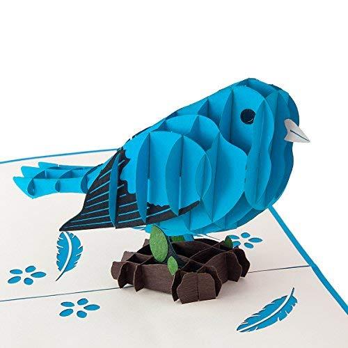 Blauer Vogel hochwertiges Geschenk für Frauen und Männer detailreich und lebendig - Lustiges und kleines Geschenk für Geburtstage, Glückwunsch - Mit Umschlag und Folie zum sofort Verschenken!