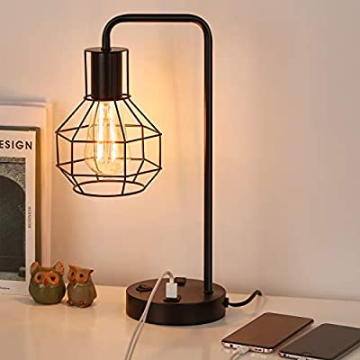 HAITRAL USB Modern Table Lamp with Outlet, Industrial Farmhouse Bedside Desk Lamp for Bedroom, Office, Living Room, Black (Without Bulb)