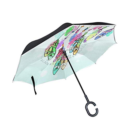 huatongxin Reverse Folding Regenschirm American Indians Dreamcatcher with Feathers Umgekehrter Regenschirms Double Layer Windproof Regenschirm for Car Rain Outdoor with C-Shaped Handle
